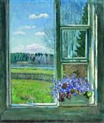 Stanislaw Julianowitsch Zukowski  - Bilder Gemälde - Window with Violets