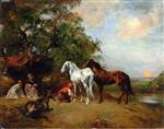 Eugene Fromentin  - Bilder Gemälde - Sunset, Arab Harnessing a Brown Horse and a White Horse