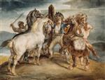 Jean Louis Theodore Gericault - Bilder Gemälde - Five Horses at the Stake