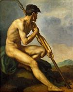 Jean Louis Theodore Gericault - Bilder Gemälde - Nude Warrior with a Spear