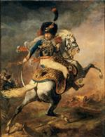 Jean Louis Theodore Gericault  - Bilder Gemälde - Officer of the Chasseurs Commanding a Charge