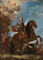 Luca Giordano - Bilder Gemälde - Charles II, King of Spain, on Horseback