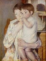 Mary Cassatt - Bilder Gemälde - Baby in Mutters Armen lutscht am Finger