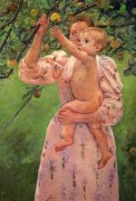Mary Cassatt - paintings - Baby Reaching For An Apple