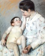 Mary Cassatt - paintings - Baby's First Caress
