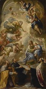 Luca Giordano  - Bilder Gemälde - Saint Anne and the young Virgin blessed