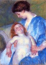 Mary Cassatt - paintings - Baby Smiling up at Her Mother