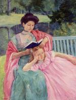 Mary Cassatt - paintings - Auguste Reading to Her Daughter