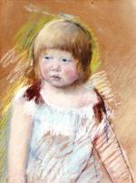 Mary Cassatt  - paintings - Child with Bangs in a Blue Dress