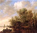 Jan van Goyen - Bilder Gemälde - A Wooded River Landscape