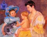 Mary Cassatt  - paintings - Children Playing with a Cat