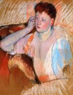 Mary Cassatt  - paintings - Clarissa, Turned Left, with Her Hand to Her Ear