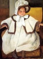 Mary Cassatt  - paintings - Ellen Mary Cassatt In a White Coat