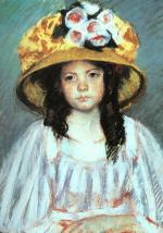 Mary Cassatt  - paintings - Girl in a large Hat
