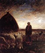 Charles Emile Jacque - Bilder Gemälde - A Shepherdess Watching Her Flock at Night