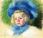 Mary Cassatt  - paintings - Head of Simone in a Large Plumes Hat, Looking Left