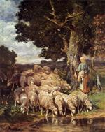 Charles Emile Jacque - Bilder Gemälde - A Shepherdess with her Flock near a Stream
