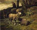 Charles Emile Jacque - Bilder Gemälde - Grazing Sheep with a Sheperdhess Beyond