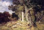 Charles Emile Jacque - Bilder Gemälde - Herd of Sheep in the Forest of Fontainebleau