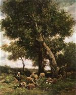 Charles Emile Jacque - Bilder Gemälde - On the Pasture