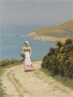 Edmund Blair Leighton - Bilder Gemälde - Girl on a Coastal Path