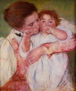 Mary Cassatt  - paintings - Little Ann Sucking Her Finger, Embraced by Her Mother
