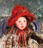 Mary Cassatt  - paintings - Little Girl in a Large Red Hat