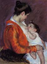 Mary Cassatt  - paintings - Louise Nursing Her Child