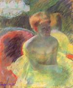 Mary Cassatt  - paintings - Lydia Leaning on Her Arms, Seated in a Longe