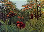 Henri Rousseau - Bilder Gemälde - Apes in the Orange Grove