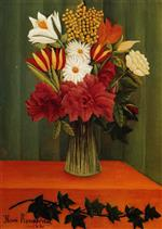 Henri Rousseau - Bilder Gemälde - Bouquet of Flowers with an Ivy Branch-2