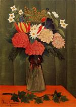 Henri Rousseau - Bilder Gemälde - Bouquet of Flowers with an Ivy Branch