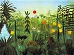 Henri Rousseau - Bilder Gemälde - Exotic Landscape with Lion and Lioness in Africa