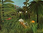 Henri Rousseau - Bilder Gemälde - Horse Attacked by a Jaguar