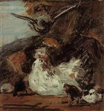 Eugene Boudin - Bilder Gemälde - A Hen and Her Chicks