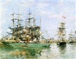 Eugene Boudin - Bilder Gemälde - A Three Masted Ship in Port