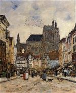Eugene Boudin - Bilder Gemälde - Abbeville, Street and the Church of Saint-Vulfran