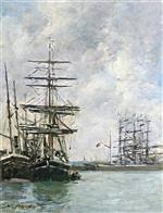 Eugene Boudin  - Bilder Gemälde - Boats at Dock