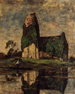 Eugene Boudin  - Bilder Gemälde - Criqueboeuf, the Church