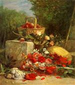 Eugene Boudin  - Bilder Gemälde - Flowers and Fruit in a Garden