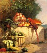 Eugene Boudin  - Bilder Gemälde - Fruit and Vegetables with a Parrot