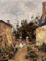 Eugene Boudin  - Bilder Gemälde - Madame S with Her Children in Their Garden at Trouville