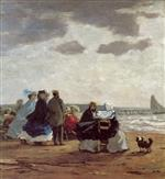 Eugene Boudin  - Bilder Gemälde - On the Beach, Dieppe
