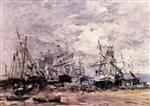 Eugene Boudin  - Bilder Gemälde - Portrieux, the Port at Low Tide