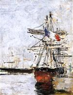 Eugene Boudin  - Bilder Gemälde - Sailboat in Port