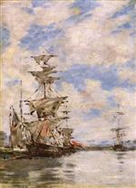 Eugene Boudin  - Bilder Gemälde - Sailboats in Port