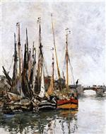 Eugene Boudin  - Bilder Gemälde - Sailboats n the Harbor
