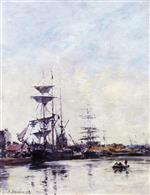 Eugene Boudin  - Bilder Gemälde - The Harbor of Deauville