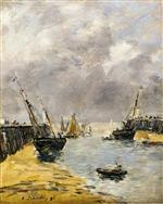 Eugene Boudin  - Bilder Gemälde - The Jetties, Low Tide, Trouville