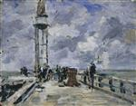 Eugene Boudin  - Bilder Gemälde - The Jetty and Lighthouse at Honfleur